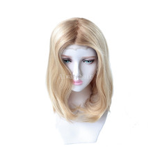 "MT11   14.5"" Women Luxury Wig Mono Top Jewish Wig Lace Front Human Hair Wig Chinese Culticle Remy Hair Wigs for Women"