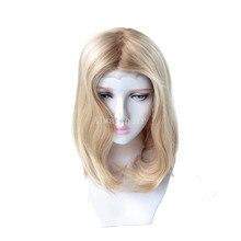 """Mt11 14.5 """"mulheres peruca de luxo mono topo peruca judaica frente do laço peruca de cabelo humano chinês culticle remy perucas de cabelo para mulher"""