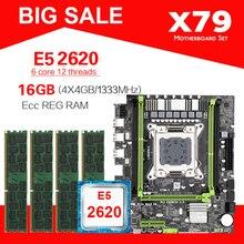 Conjunto de tarjeta madre, placa base LGA2011 X79 X79M S, E5, DDR3, 1333 MHz, 10600 ECC REG, CPU 2620, juego de memoria M ATX M.2 SSD, 4GB = 16 GB, 4 uds.