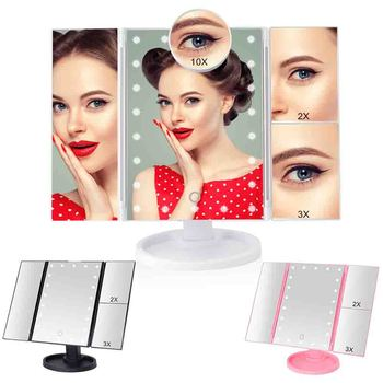 22 LED lustro do makijażu z oświetleniem z ekranem dotykowym Vanity Mirror1X 2X 3X 10X powiększające elastyczne kosmetyczne regulowane podwójna moc zasilania tanie i dobre opinie Wyposażone Plastic+ABS Approx 34 5*28cm 13 5*11in LED Light Makeup Mirror