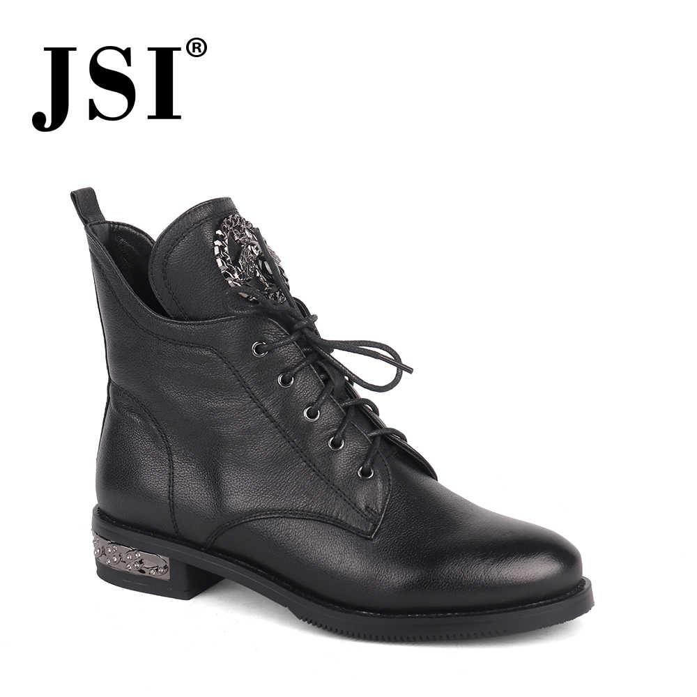 JSI ayak bileği kadın botları hakiki deri sivri burun Zip katı bayanlar ayakkabı kış kare topuk düşük topuk temel kadın botları jc214