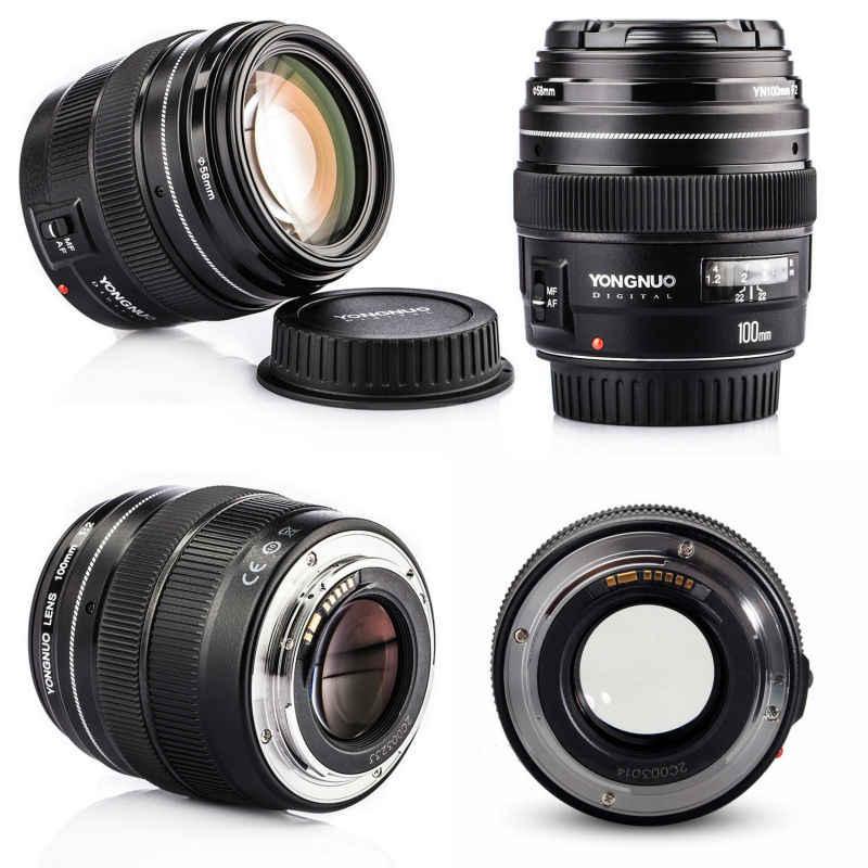 YONGNUO 100MM YN100mm F2 gran apertura medio teleobjetivo principal para Canon EF montaje 5D 5D IV 1300D T6 760D 1300D cámara Nikon