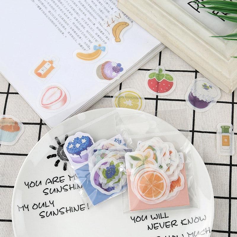 50PCS Cute Banana Strawberry Stickers Kawaii Fruit Lemon Decor Stationery Stickers Paper For Kids Scrapbooking Diary Supplies