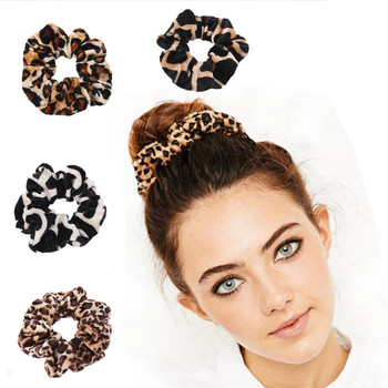 Spring Dot simple Smooth Animal Velvet hair Scrunchies Leopard Print Houndstooth patterns autumn winter hairbands accessories image