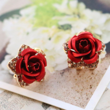 Wholesale New Jewelry Rose Gold Color Crystal Rhinestone Pearl Flower Stud Earrings High Quality