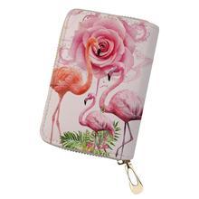 HaoYun Women Business PU Card Holder Art Flower Flamingo Prints Pattern Girls Money Purses Bags Cartoon Animal Cluth Wallets