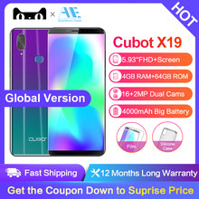 Cubot X19 5.93 Inch Android 8.1 Helio P23 Octa Core mobile phone 4000mAh 4GB RAM 64GB ROM Smartphone 16.0MP 4G LTE cell phone(China)