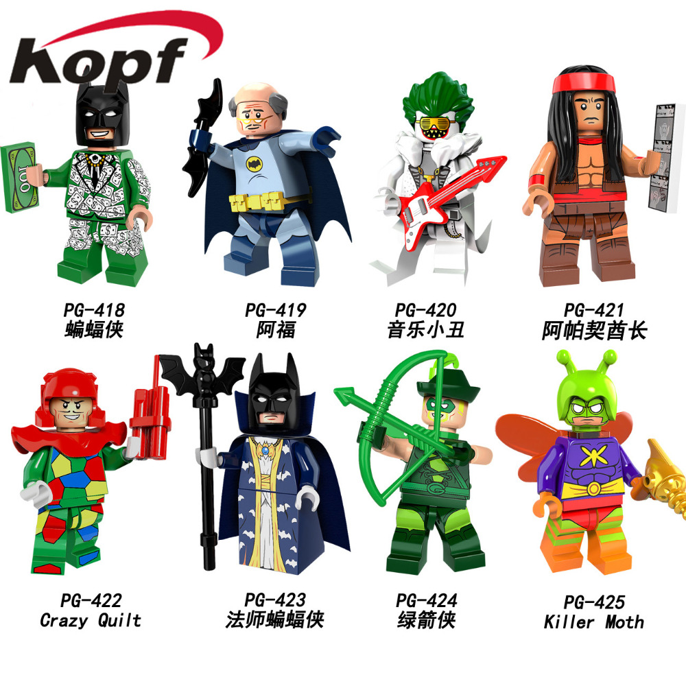 Super Heroes Crazy Quilt Master Batman Cacique Killer Moth Arrow Alfred Joker Building Blocks Legoinglys Children Toys PG8110