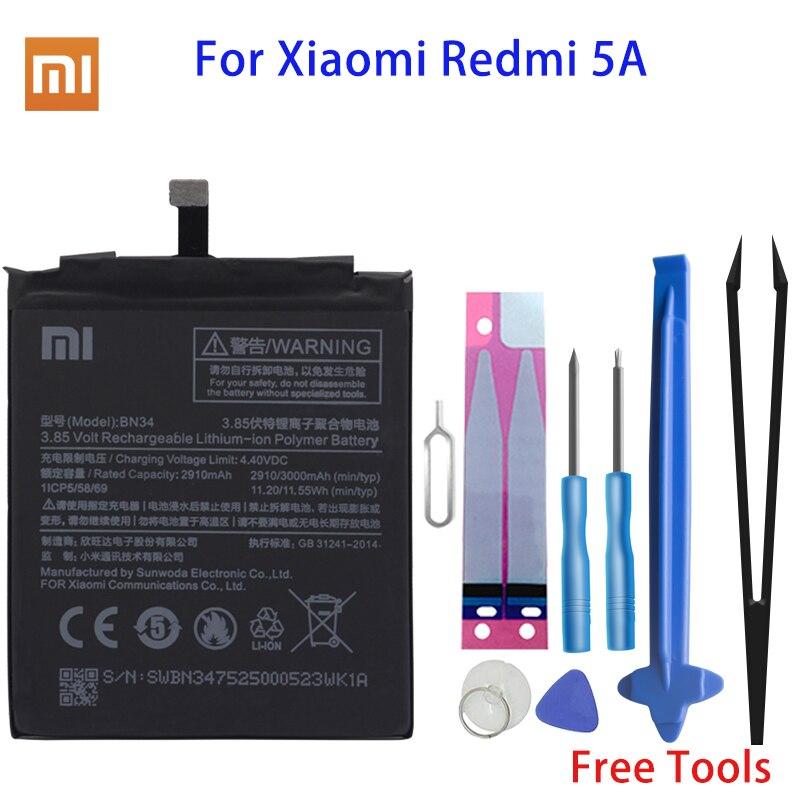 Оригинальный аккумулятор Xiao Mi BN34, сменная батарея для телефона Xiaomi Redmi 5A 5,0 дюймов, батареи для телефонов с высокой емкостью 2910 мА/ч и инструменты Аккумуляторы для мобильных телефонов      АлиЭкспресс
