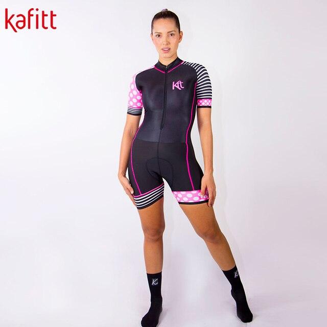 Kafitsummer nova camisa de ciclismo de manga curta terno de uma peça terno profissional feminino triathlon bicicleta de montanha macaquinho 3