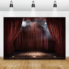 Laeacco Birthday Photography Backdrops Red Curtain Stage Show Lights Circus Photographic Backgrounds Baby Newborn Photocall Prop