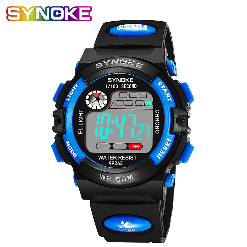 SYNOKE Kids Waterproof Electronic Watches Children Male Back Light Sports Watches Digital Electronic Watches Age Girl Watch
