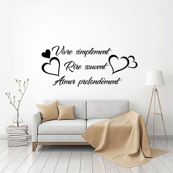 Sticker Citation Vivre Simplement Vinyl Wall Art Decal Living Room Home Decor Poster French Quote House Decoration Wall Decor 1