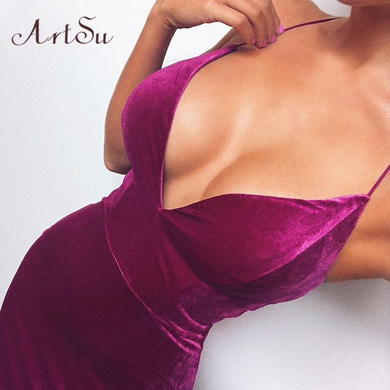 Artsu Velvet Spaghetti Strap <font><b>Sexy</b></font> <font><b>Dress</b></font> Backless <font><b>Bodycon</b></font> High Waist Purple <font><b>Blue</b></font> Summer Party Club Midi <font><b>Dress</b></font> Women ASDR70161 image