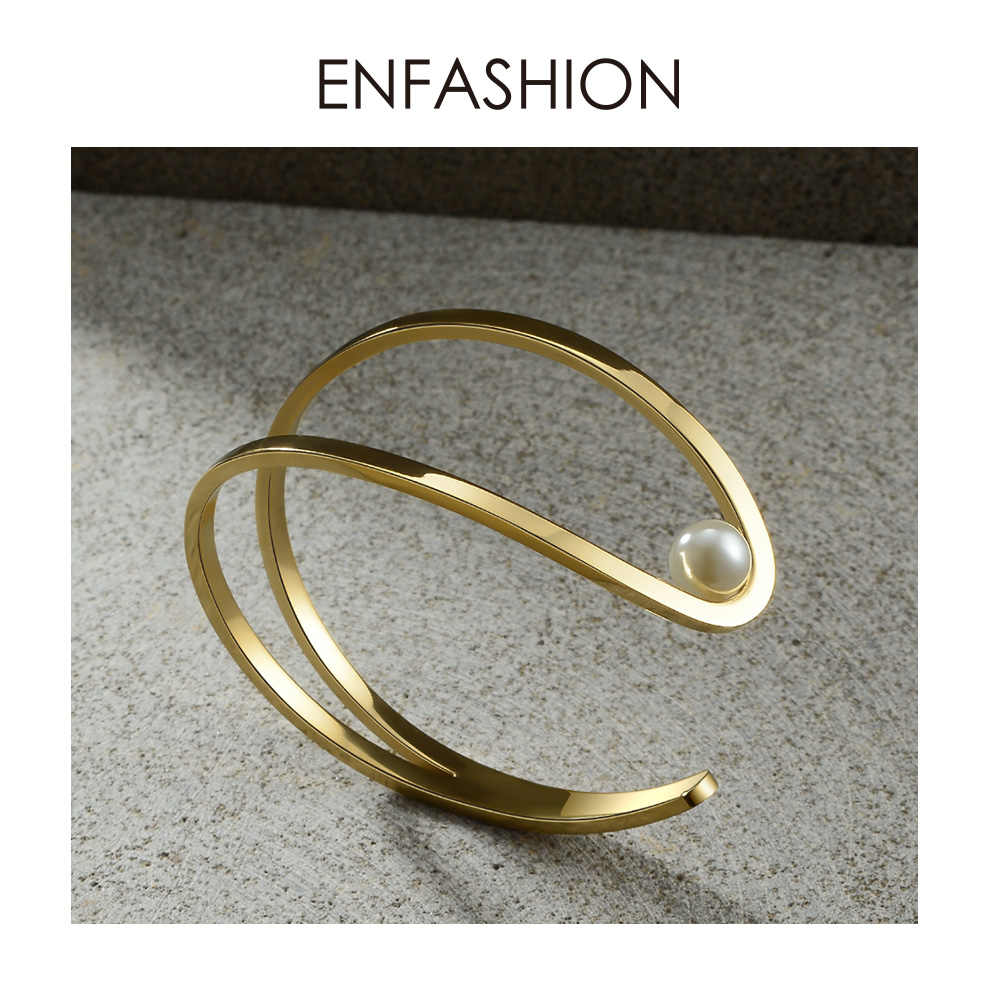 ENFASHION かわいい魚オープニング女性ゴールドカラー真珠 C シェイプライン女性バングルファッションジュエリー B2019