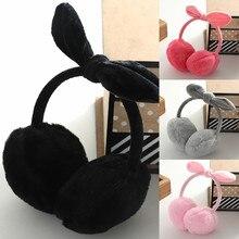 Однотонные Модные женские зимние теплые наушники с бантиком для девочек; милые плюшевые наушники с кроликом;# j8