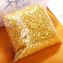 450g/bag 4--6mm High Quality Multi-layer Nail Art Golden Electroplated Glass Stone Nail Art Irregular Small Gravel