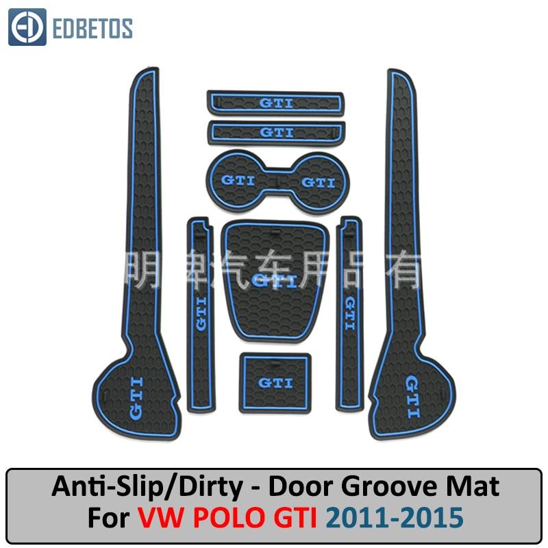 Non-Slip Interior Door Bins Mat Cup Holder Rubber Pad Set 2011-2015 Polo MK5 Red