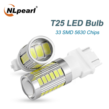 цена на NLpearl 2x Signal Lamp 3156 LED Canbus Bulb 12V 33-SMD T25 LED 3157 P27/7W Car Brake Tail Lights Reverse Light White Red Yellow