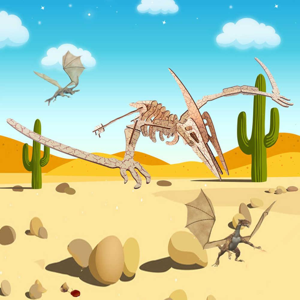 나무 미니어처 공룡 모델 자기 조립 지그 소 퍼즐 키즈 교육 장난감