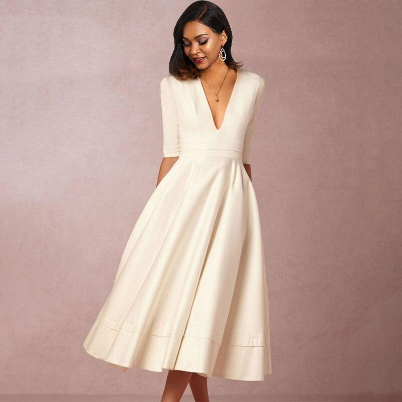 Sisjuly White Dress Vintage Women Deep V Sexy Pleated Plain Red Blue Simple Fashion Street Elegant Party Casual Swing Dresses