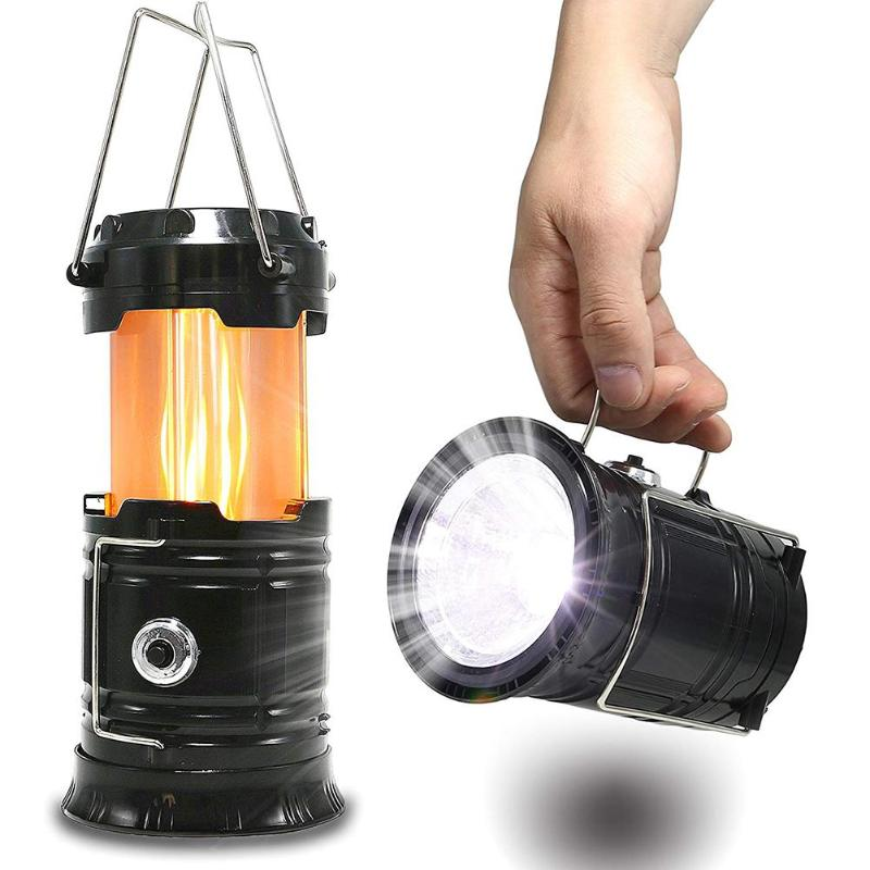Portable Solar Camping Tent Light Flame Lamp Lantern Flashlight Retractable Emergency Lighting Camping Light Lantern