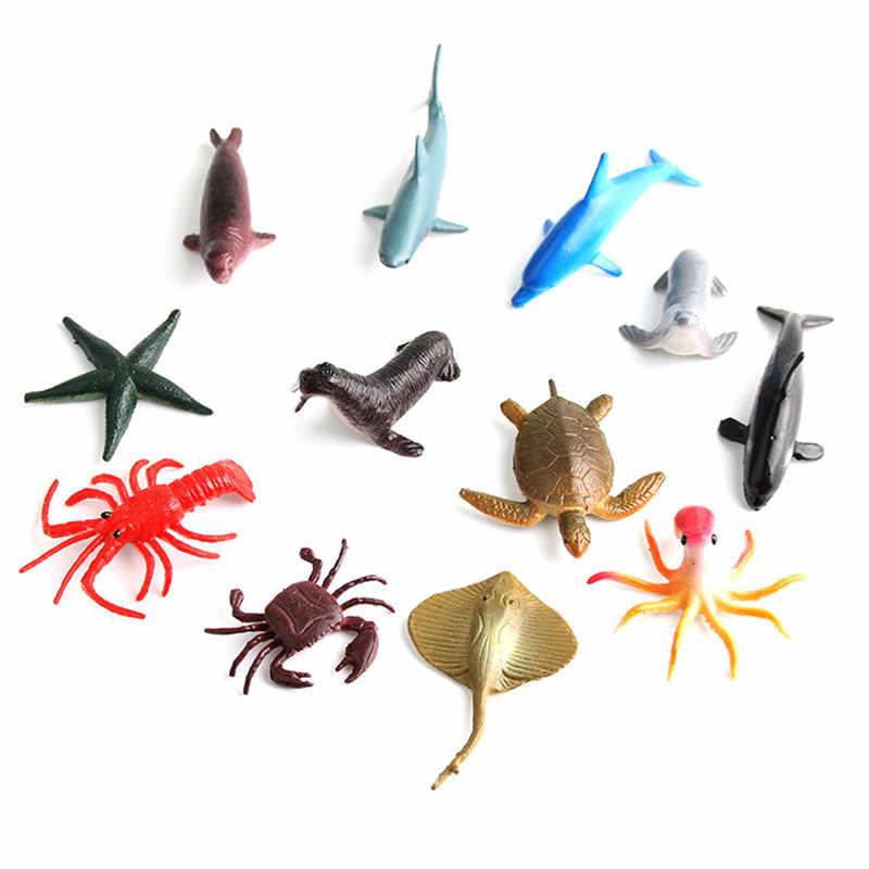 12 pces simulação animal marinho modelo de brinquedo simulação animal marinho oceano mar animais figuras