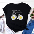 Women T-shirt Cute Daisy Bike Print TShirt Women Graphic T Shirts O Neck Short Sleeve Tees Summer Top