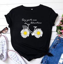Women T-shirt Cute Daisy Bike Print TShirt Women Graphic T Shirts O Neck Short Sleeve Tees Summer Top