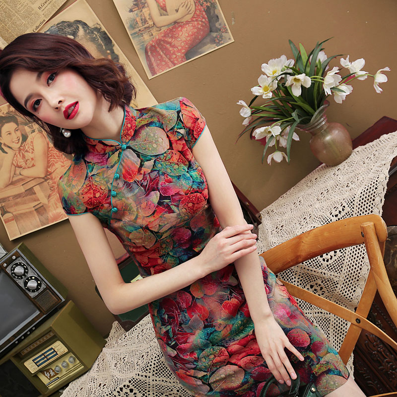 5XL Stretchable Qi Pao Chinese Dress Flexible Oriental Style Dresses 4XL Cheongsam 2020 New Clothes Elastic Force Chipao Pretty