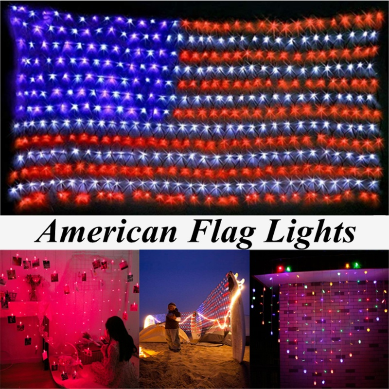 American Flag String Lights With 420 Super Bright LED Waterproof Flag Net Light For Yard Garden Festival Party Outdoor Decor