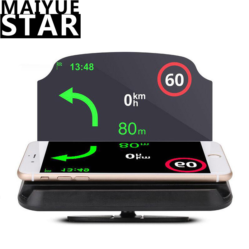 HUD Car Navigation Head-up Display Wireless Car Phone Bracket Speed Speed Projector Flat-vision Rear Projection Navigation