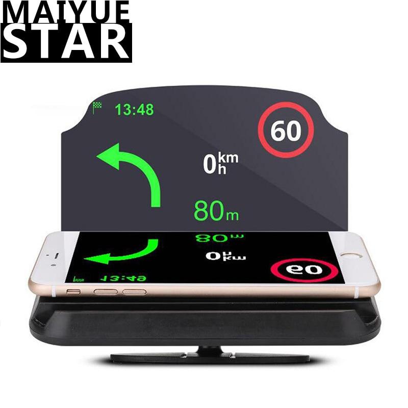 HUD Car Navigation Head-up Display Wireless Car Phone Bracket Speed Speed Projector Flat-vision Rear Projection Navigation