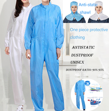 цена на Anti-static Clothing Hooded Dust-proof Coveralls Cleanroom Garments Factory Clean Food Paint Work Protective Clothing Unisex