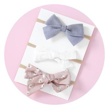 3pcs/set Sweet Girls Nylon Headbands Bow Knot Headwear Toddlers Elastic Hair bands Infant Headband Baby Girl Accessories