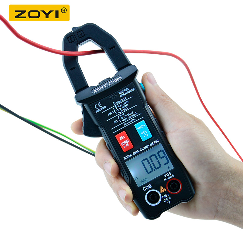 Tools : ZT-QB9 Clamp Meter DC AC 600A current measurement TRMS Auto-Rang Voltage Ammeter Hz Ohm NCV Tester DMM Multimete