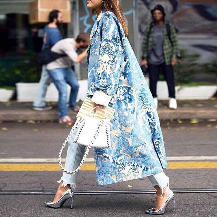 Autumn Women Long Coat Button Turn Down Collar Women   Trench   Coat Casaco Feminino Abrigo Mujer   Trench   Femme Casual Print Coat
