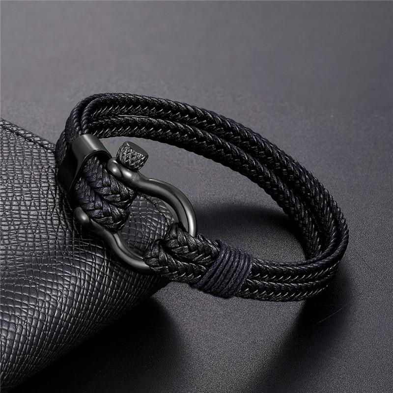 2019 New Fashion Stainless Steel Bracelet Men Punk Genuine Leather Bracelets & Bangles Charm Jewelry Wholesale Pulseira Homens