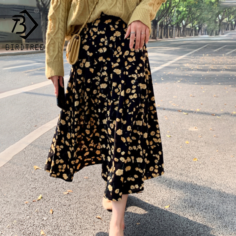 2020 Spring Summer Floral Women Mid Length High Waist Loose Casual Korean A Line Skirts B01214M