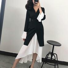 Tvvovvin celebridade temperamento feminino primavera novo vestido coréia moda manga completa com decote em v botão de retalhos vestido irregular b432