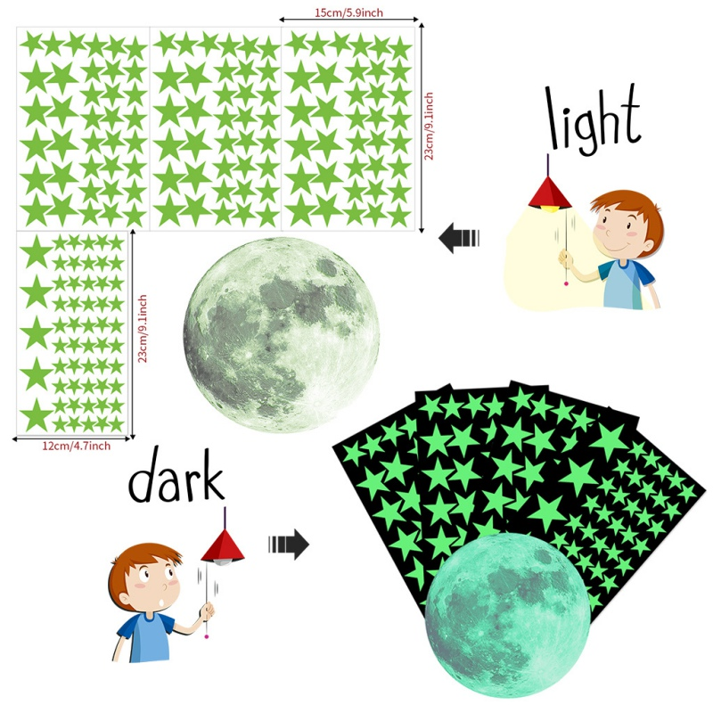 Luminous Stickers Glow In The Dark Star And Moon Self Adhesive Wall Decals For Bedroom Living Room Nursery Kids Room New in Wall Stickers from Home Garden