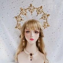 Headwear Lolita Tiara Hair-Accessories Crown-Kc Gothic Virgin Dame Chain Notre Bead Baroque