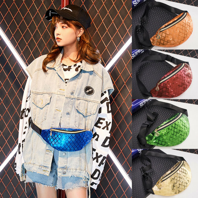 Fashion Womens Waist Bags PVC Solid Color Ladies Glitter Bum Bags Waist Fanny Pack Holiday Travel Wallet Money Belt Waist Bags