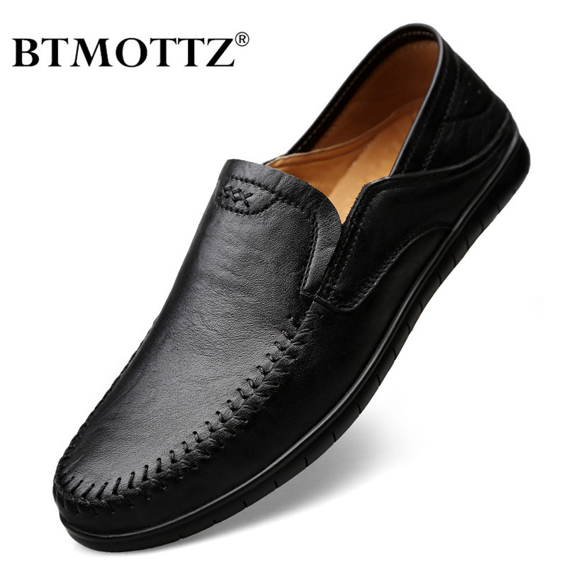 Italian Men Shoes Casual Luxury Brand Summer Mens Loafers Genuine Leather Moccasins Comfy Breathable Slip On Boat Shoes Black