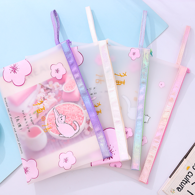 Portable Transparent Zipper Bag Matte Document Bag Student Dual Use Storage Bag Cute A4 Pencil Case Stationery Office Folder