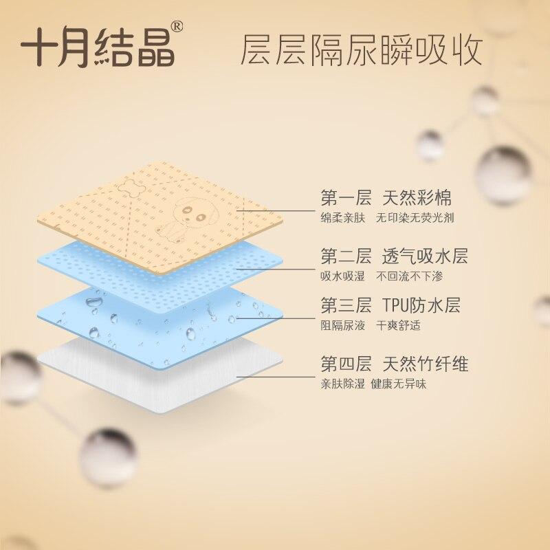 Coussin de couche-culotte cristallin confortable pour la peau en octobre coussin de couche-culotte en coton coloré pour bébé imperméable lavable pur coton respirant