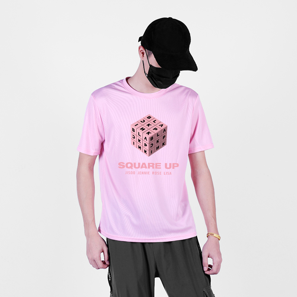 BLACKPINK <font><b>Mesh</b></font> Quick Dry T-shirt Summer Exclusive T-shirt <font><b>Men</b></font> Fashion Hip Hop T-shirt <font><b>Men</b></font> New Style Short Sleeve <font><b>Tshirt</b></font> 4XL image