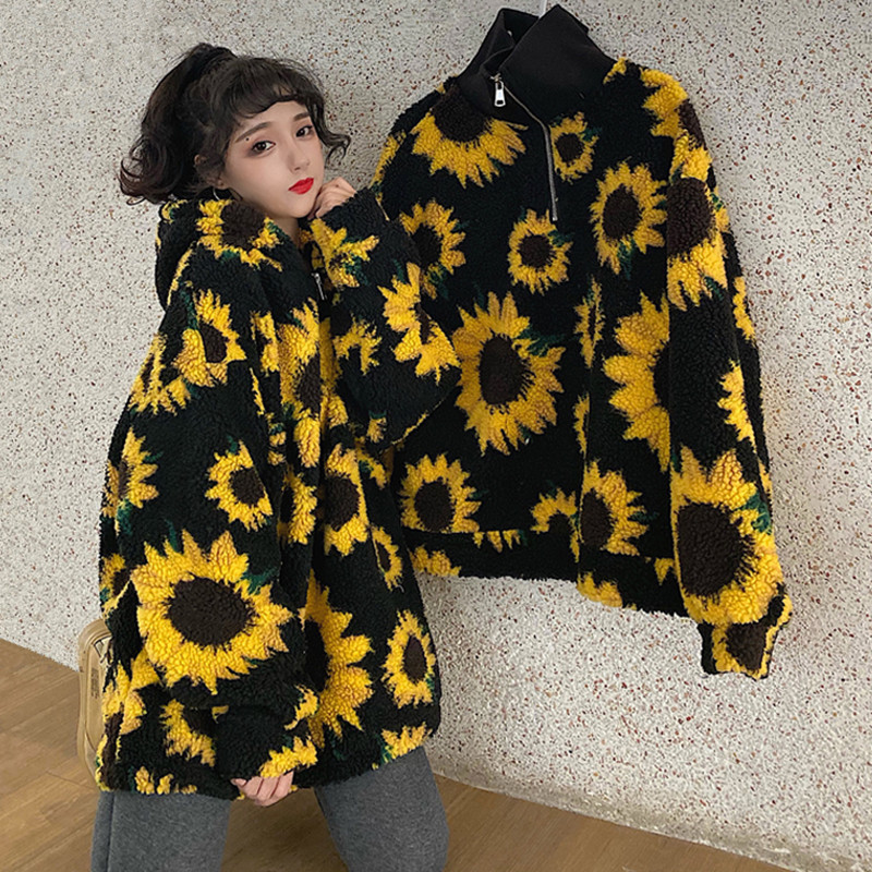 Winter Warm Lamb Wool Fleece Sunflower Hoodies Women Fashion Oversized Zip Up Hooded Sweatshirt Zipper Sherpa Hoody Ladies
