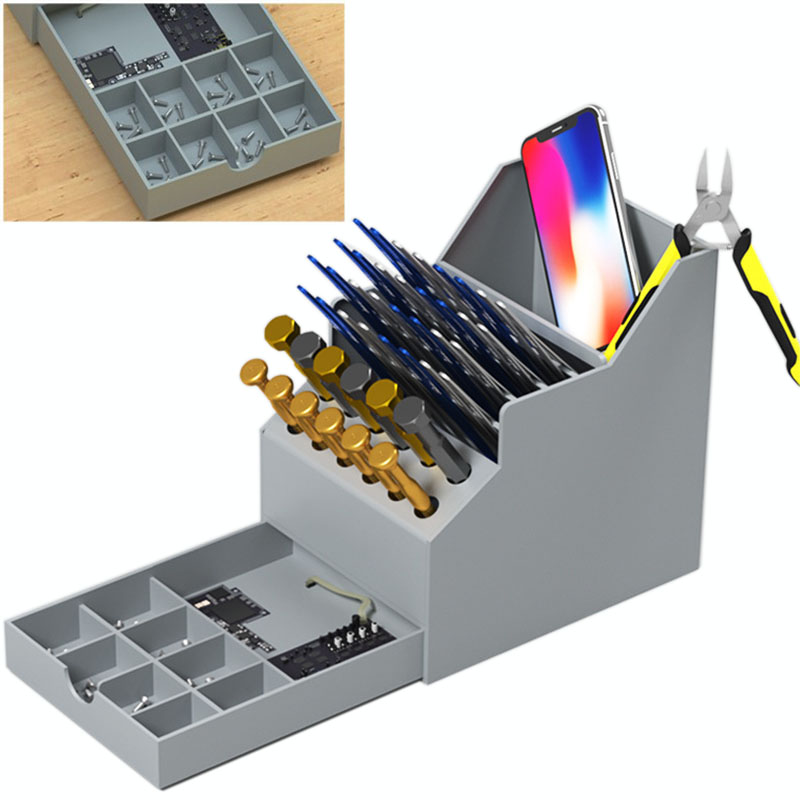 Multifunctional Toolbox Mobile Phone Repair Desktop Finishing Storage Box Screwdriver Element Parts Box With Drawer Tool Box