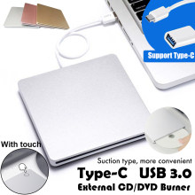 Usb 3.0 + TYPE-C DVD-ROM cd rw CD-ROM player toque externo dvd gravador de unidade óptica para macbook computador portátil windows